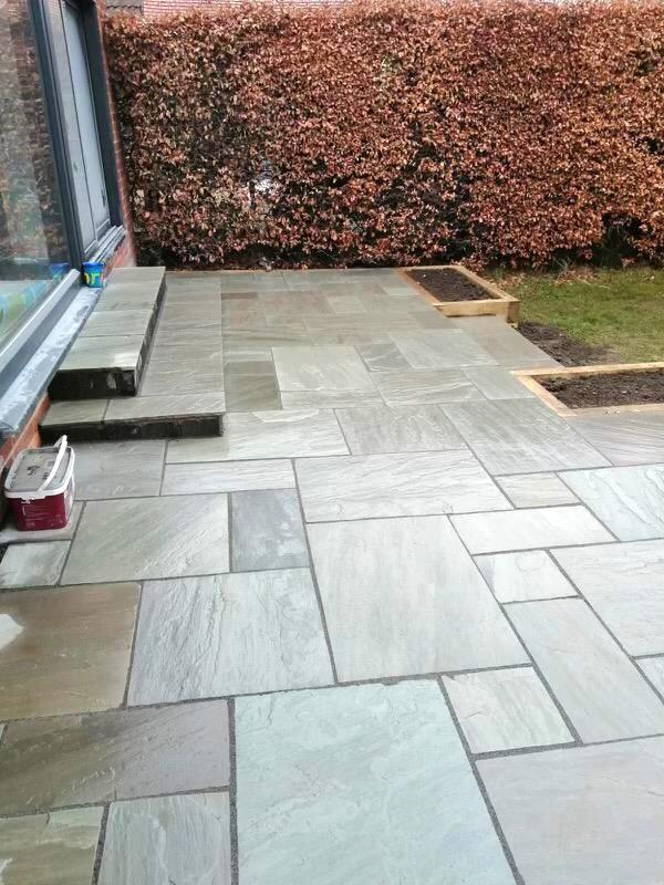 grey indian sandstone patio 4